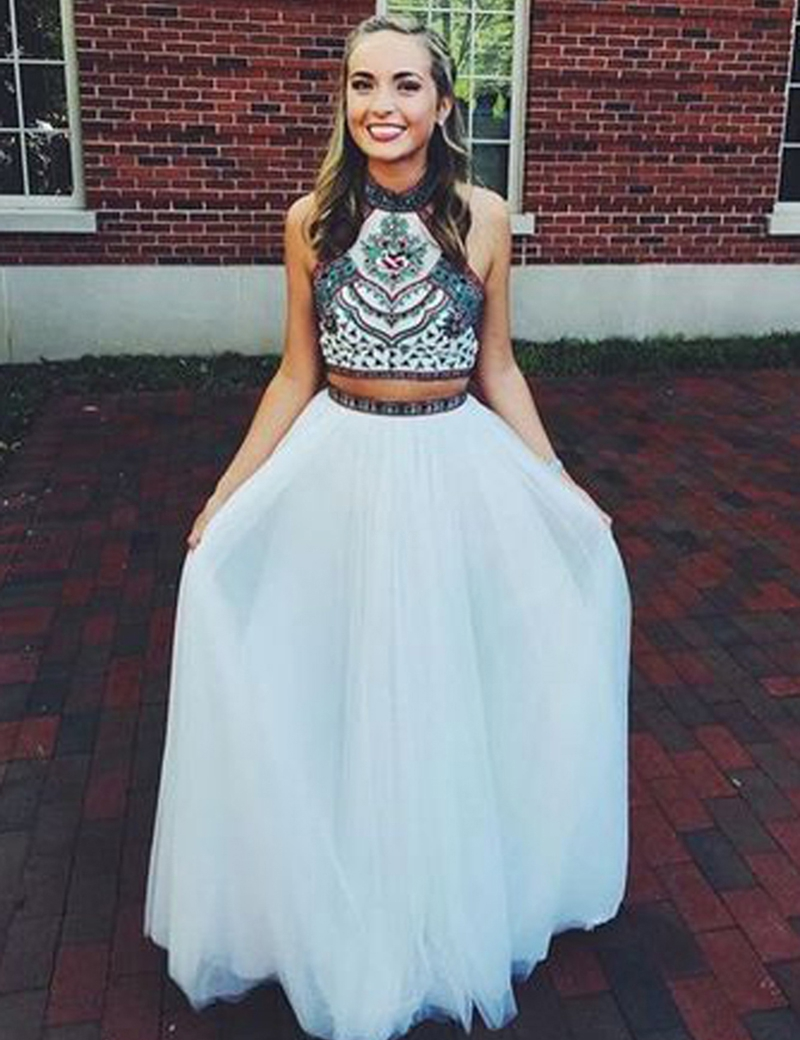 2 pieces prom dresses,new Prom dress,2 piece prom dress,white prom ...
