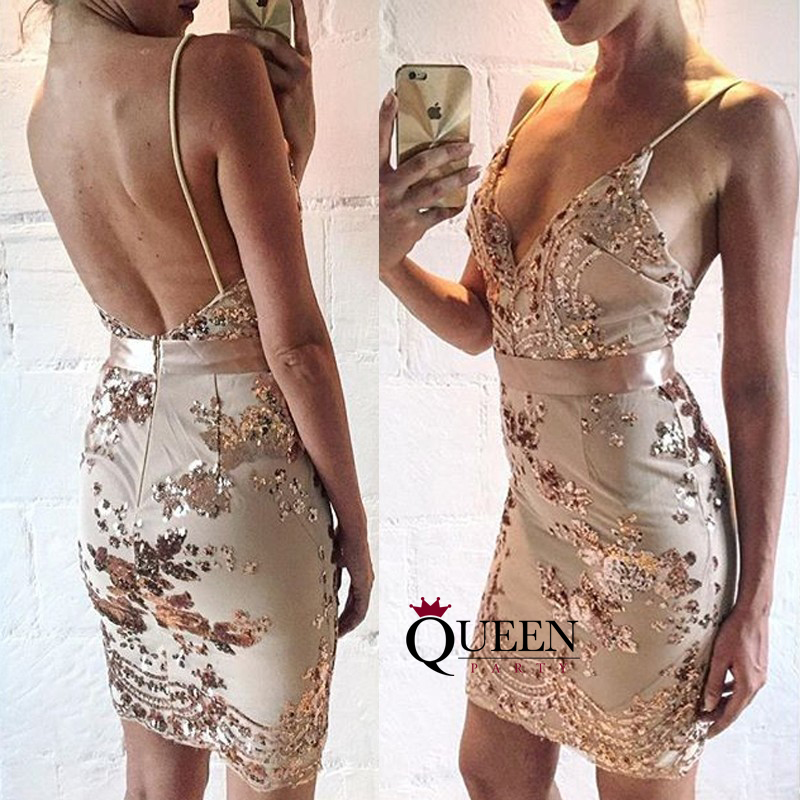 27eb104f6c5 Glamorous Nude Tulle And Gold Sequins Appliques Short Prom Dress, Spaghetti  Strap V-Neck ...