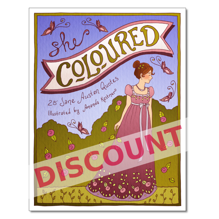 DISCOUNT* Coloring Book: 25 Jane Austen Quotes on Storenvy