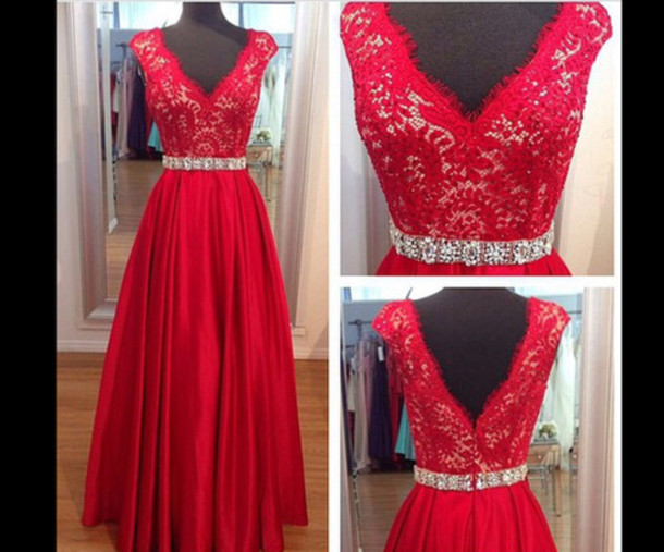 83314c7ccb2b A Line V Neck Red Lace Prom Dresses Cap Sleeves Beaded Evening Dress ...