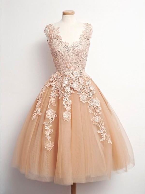 81747961838 Lovely V neck Lace Bodice Tulle Champagne Short Prom Dresses Cocktail Dress  Knee Length Homecoming Dresses