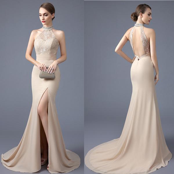 6521e489b33 New Arrival Backless Champagne Mermaid Prom Dresses