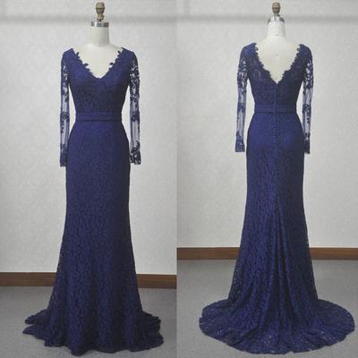 a4b009d536cf Navy blue lace mermaid prom dresses,v neck long sleeves evening prom dress ,back