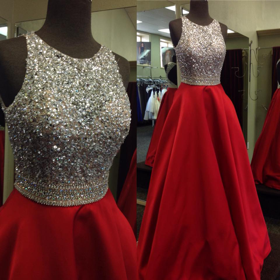 Shinny Beaded Bodice Prom Dresses,Red Satin Prom Dresses,Ball Gown ...