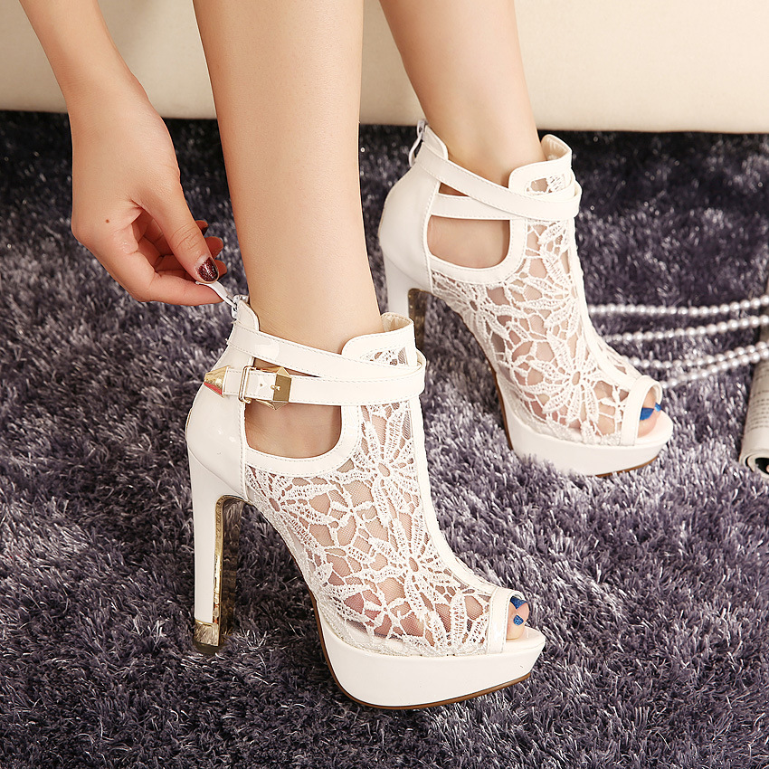 b8544ac7829 Sexy Mesh Ankle Peep Toe High Heels Sandals · Shoes Party · Online ...