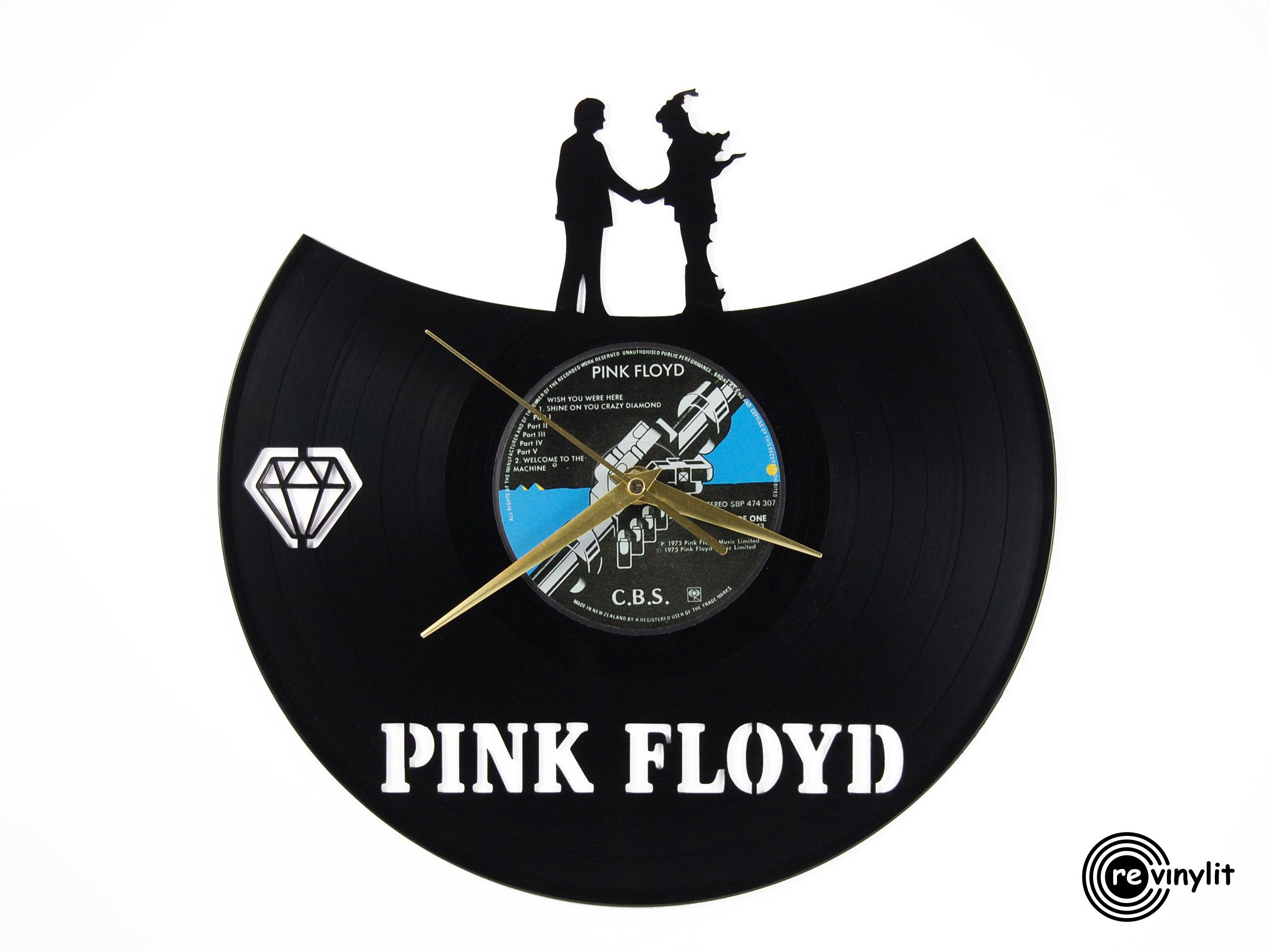 Pink Floyd Wish You Were Here vinyl record clock ||| Revinylit sold by  Revinylit vinyl record clocks