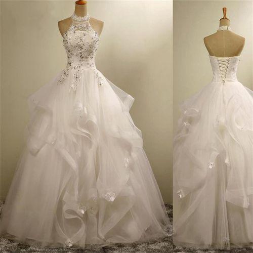 12c8e5264 Romantic wedding dress,Ball Gown Wedding Dress,Tulle Wedding dress,Halter  Wedding dress