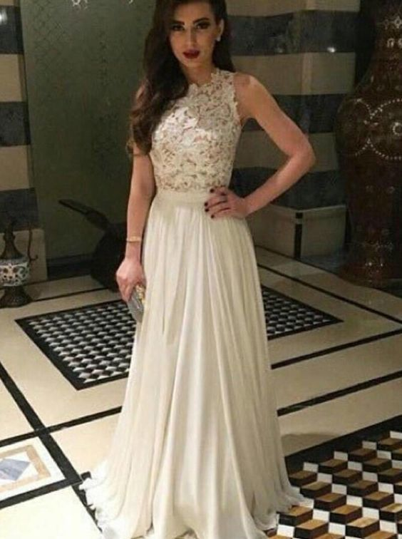 A-line Long Prom Dress, Cute Ivory Lace Chiffon Modest Prom Dress ...