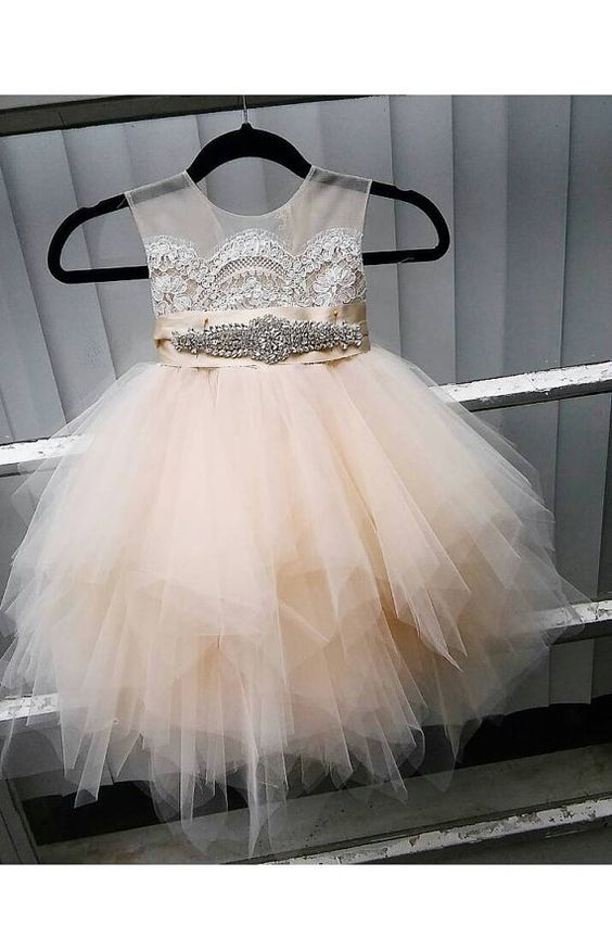 d36bec89ba cute flower girl dress with rhinestone sash