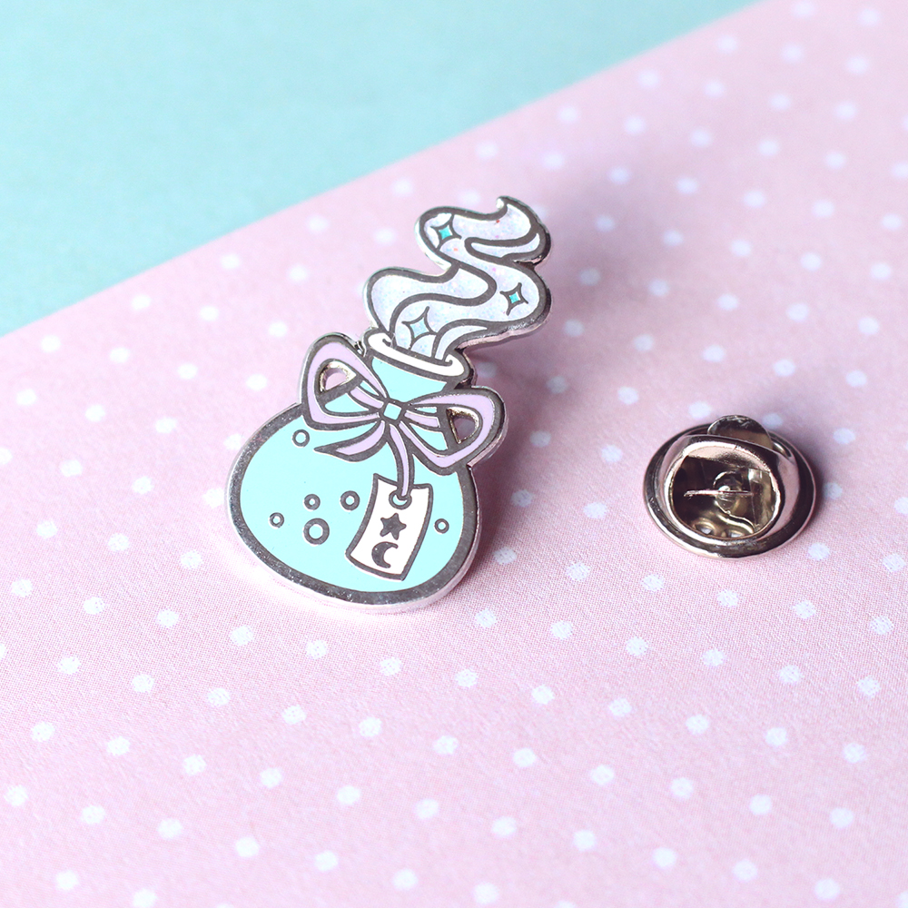 Potion Bottle Enamel Pin - Silver Hard Enamel Pin / Lapel / Brooch / Badge  - Witch, Wicca, Cute, RPG, Magic, Pastel Goth, Gothic