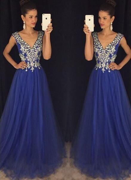 New Arrival Royal Blue Prom Dresses V Neck A Line Prom