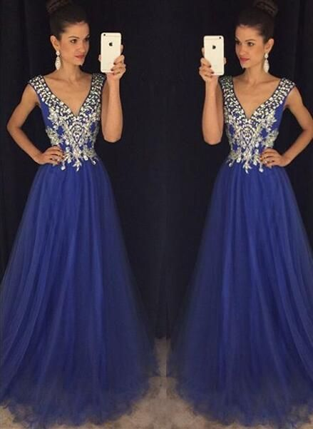 New Arrival Royal Blue Prom Dresses,V Neck A Line Prom Dress ...