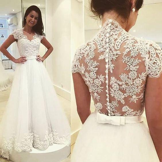 A Line Illusion Lace Wedding Dress From Sancta Sophia