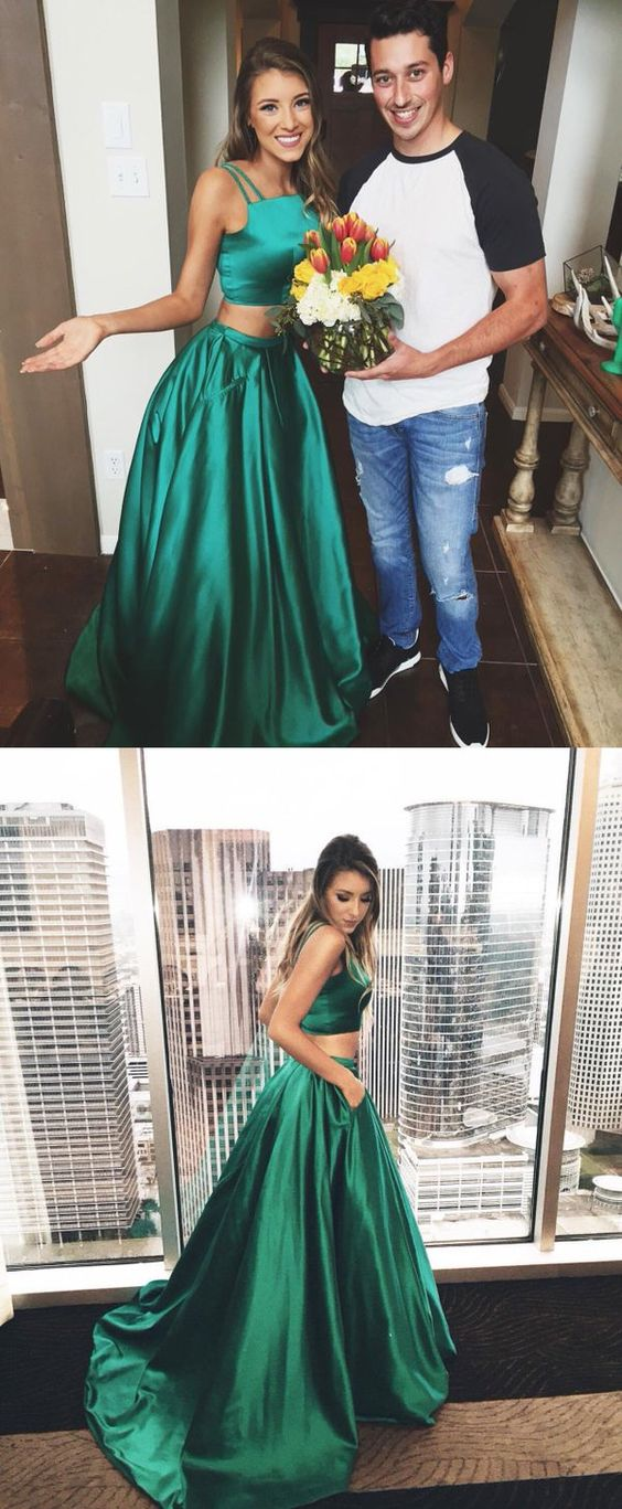 Gorgeous A Line Two Piece Hunter Green Long Prom Dress Formal
