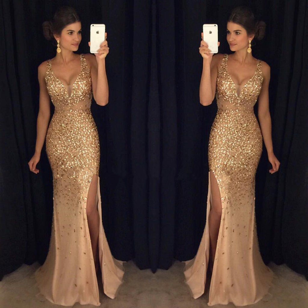 Sparkly Mermaid V-Neck Open Back Champagne Prom/Evening Dress with ...