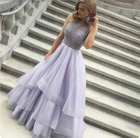 Light purple sequins tulle long prom dress e23911536