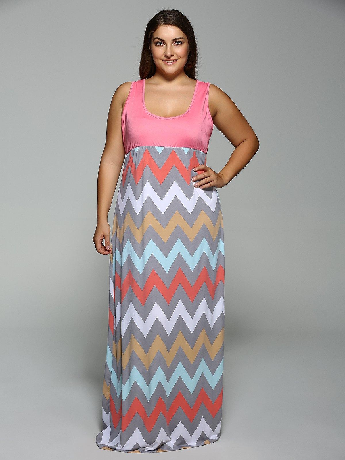 662874bab5abd Summer Pink Empire Waist Zig Zag Plus Size Dress FREE DELIVERY