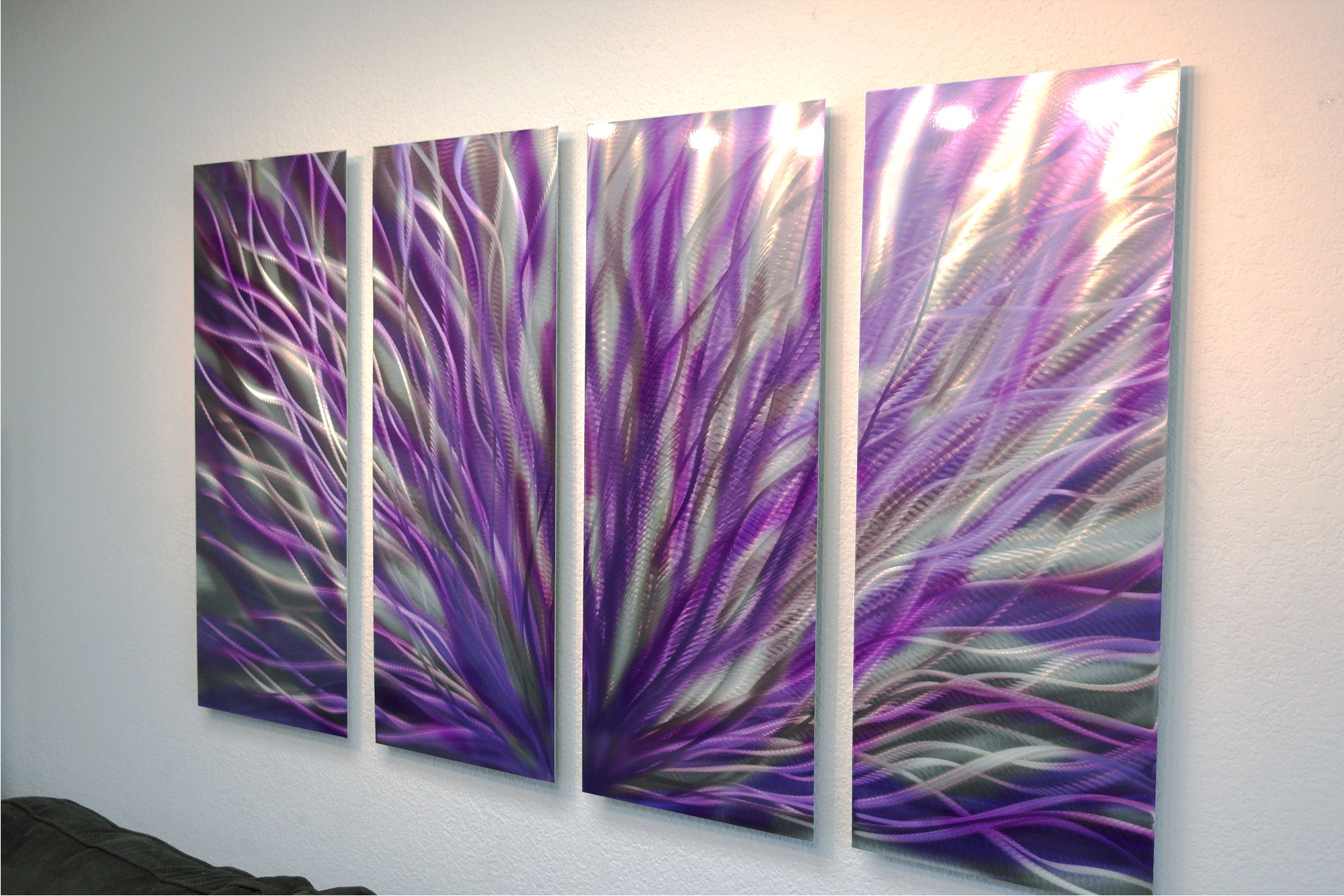 ... Radiance Purple 36x63 - Abstract Metal Wall Art Contemporary Modern Decor - Thumbnail 3 & Radiance Purple 36x63 - Abstract Metal Wall Art Contemporary Modern ...