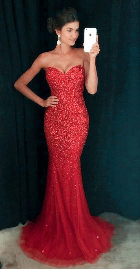 Sexy Mermaid Beaded Prom Dress Evening Party Ball Gown