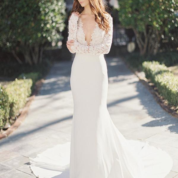 042d9d63f782 2017 Sexy Deep V-Neck Lace Top Mermaid Wedding Party Dresses, long sleeve  wedding gown,WD17195 on Storenvy
