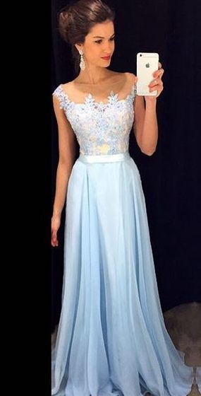 Simple Prom Gowns Light Blue Lace Evening Dresses Modest