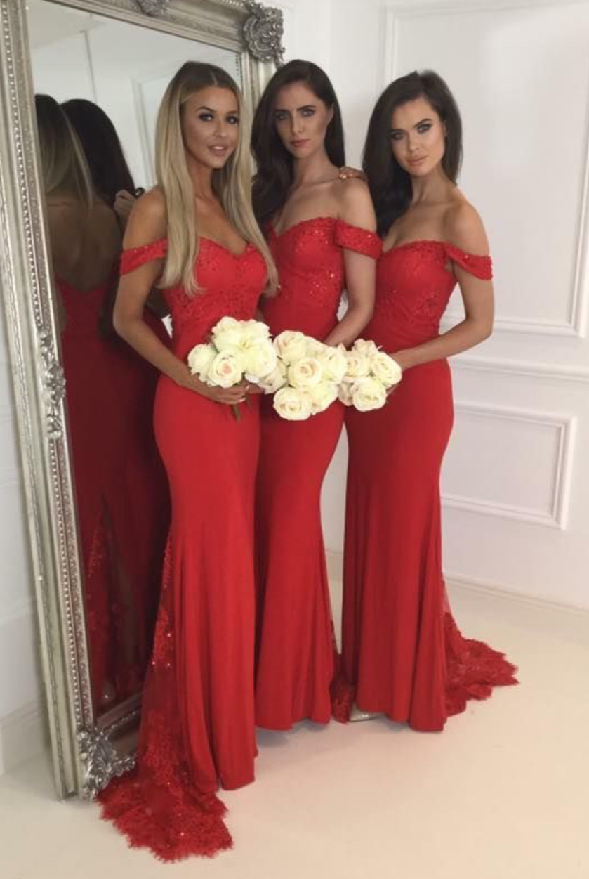 ea0b1c8f120e Red Jersey Lace Off The Shoulder Sweetheart Cap Sleeves Mermaid Sweep Train  Bridesmaid Dresses