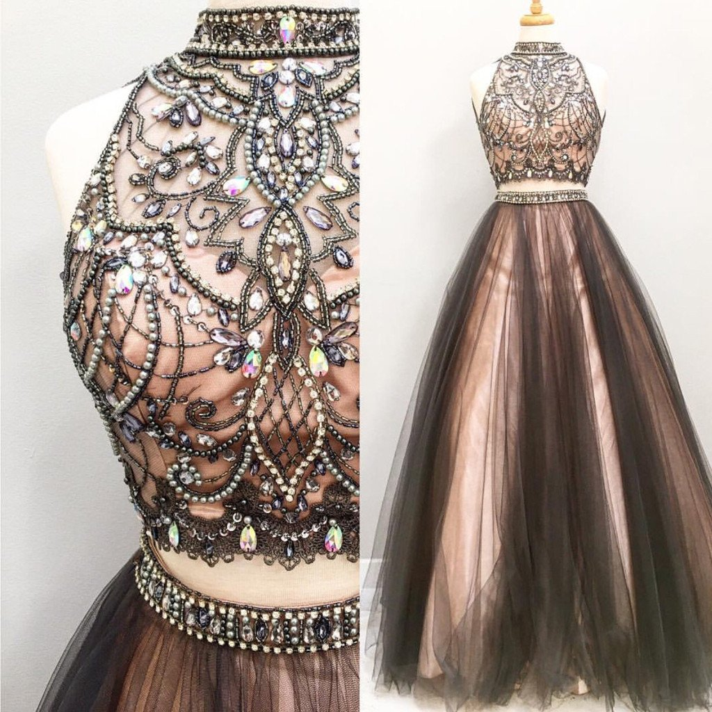 Two Pieces Rhinestone Prom Dresses, High Neck Prom Dresses ...