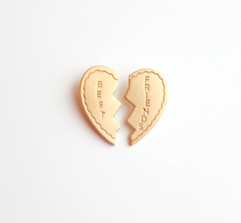 "4c8003ce8a3 Best Friends Matte Gold Heart Pin Set // Twin Peaks inspired // 1.25"""