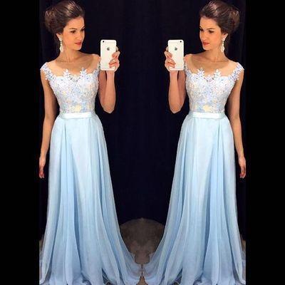 Beautiful Prom Dresseslight Sky Blue Appliques Custom Made Charming