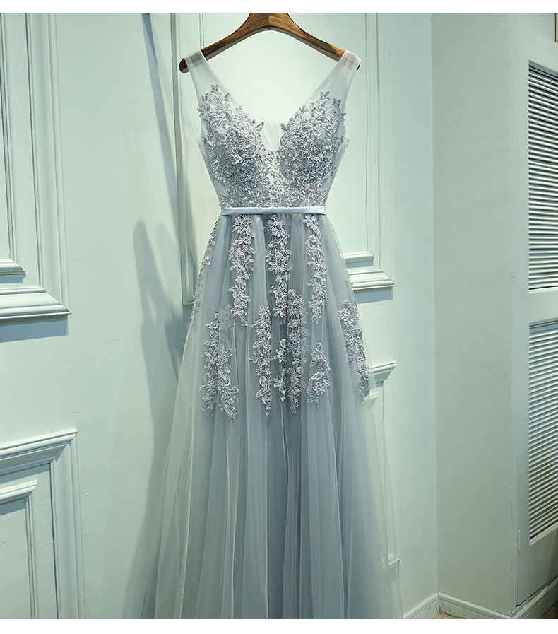 4116415a947 Charming A-Line V-Neck Sleeveless Long Prom Dress with Appliques on ...
