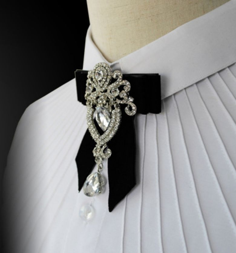 Black Burgundy Grey Velvet Rhinestone Wedding Men Pre Tied Bow Tie Neck Tie