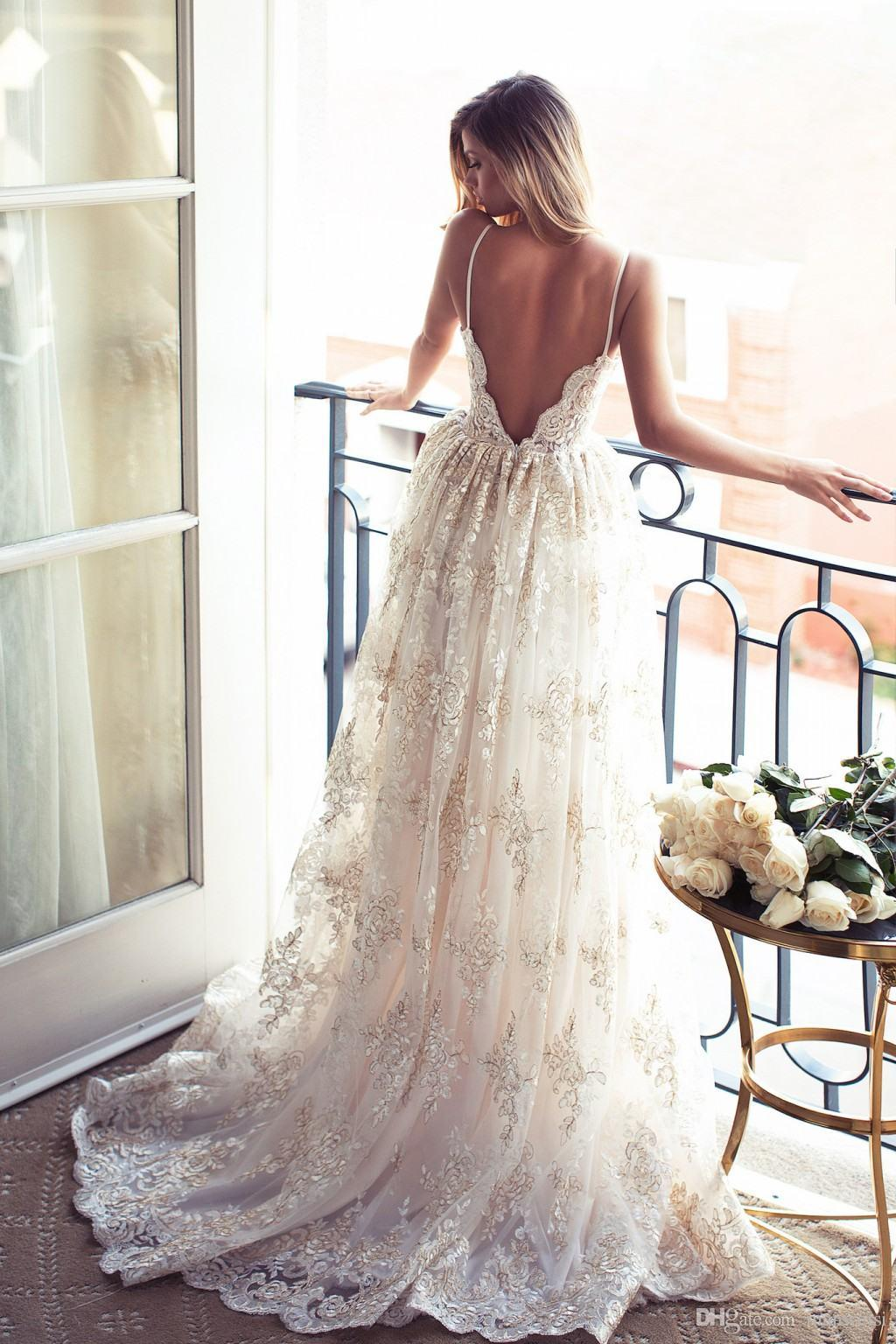 47165649c82f 2017 Full Lace Open Back Wedding Dresses Sexy Spaghetti Straps ...