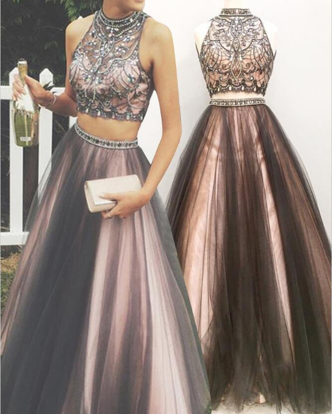 Two Pieces Prom Dresses,Beaded Formal Dresses,Shinny Pageant Dresses ...