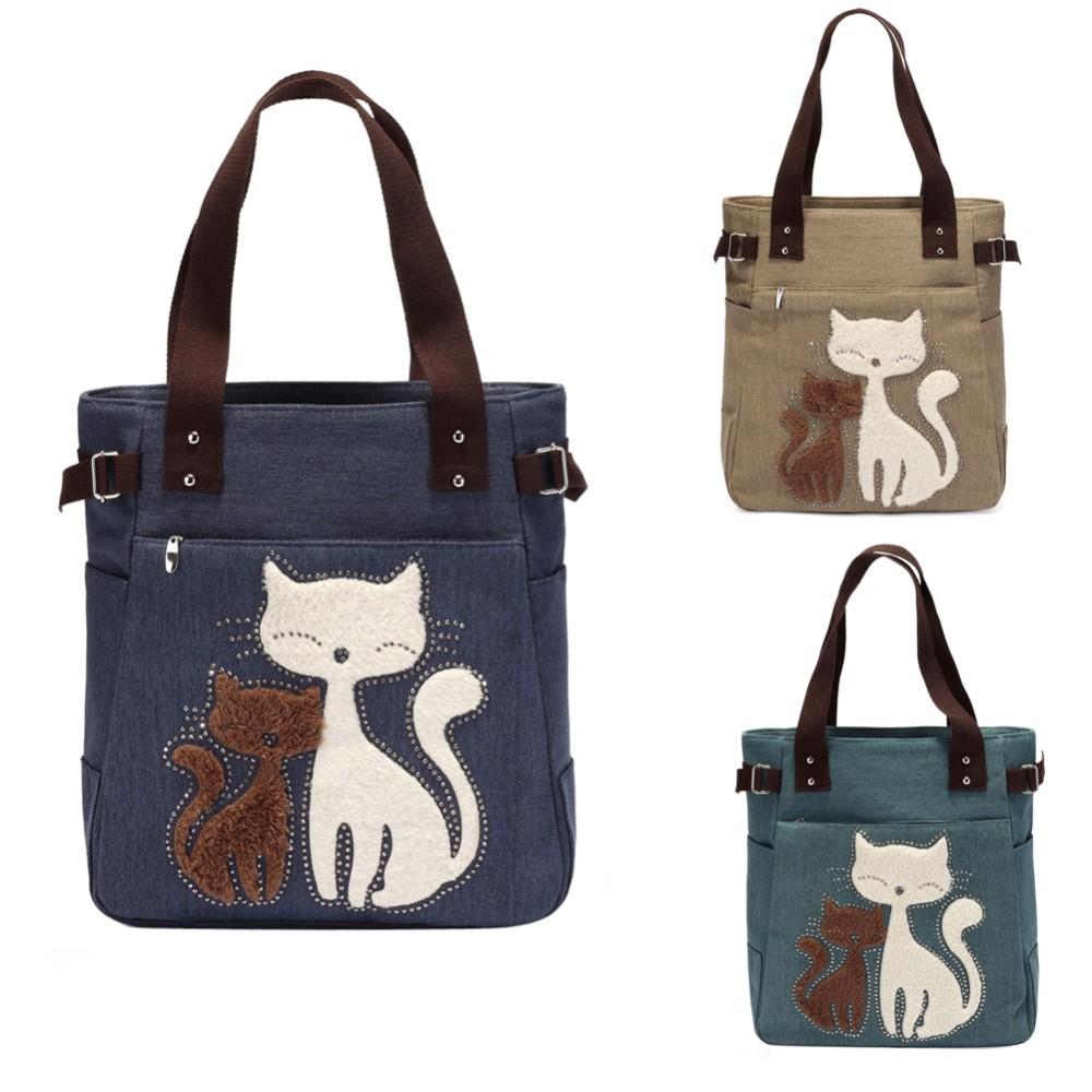 114a42351273c ... canvas women handbag casual tote bag cute cat shoulder bag lady handbags  large. Htb1gywunfxxxxxexpxxq6xxfxxxk small