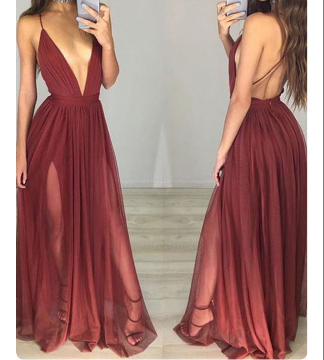 A-line Maroon Chiffon Prom Dresses,Backless Prom Dresses,Simple Long ...