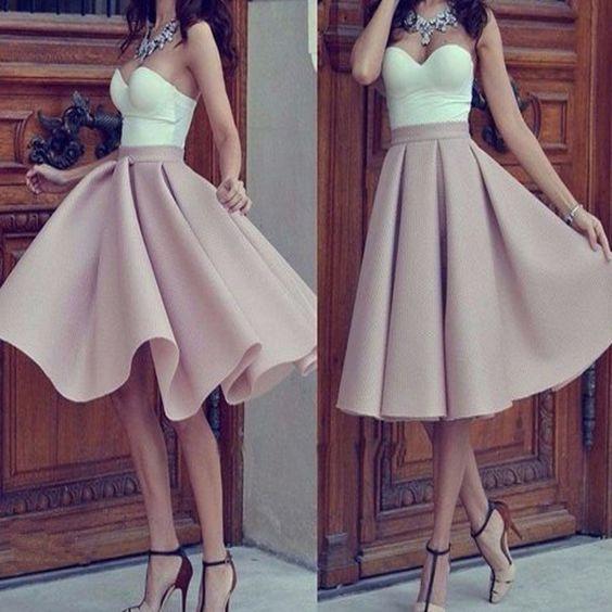 A401 Simple Prom Dressestea Length Prom Dresspink Prom Dress