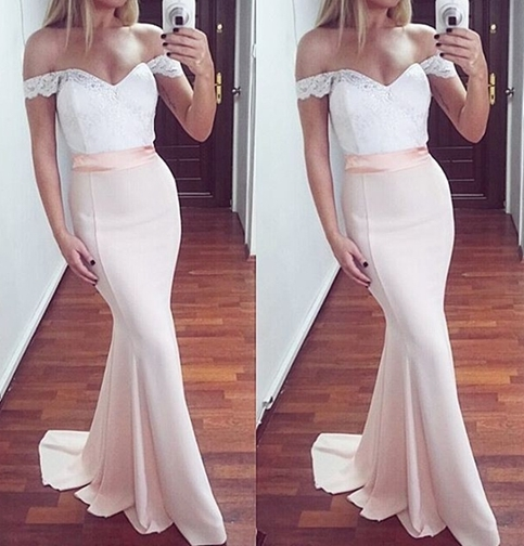 White And Pink Mermaid Lace Off Shoulder Long Prom Dressformal
