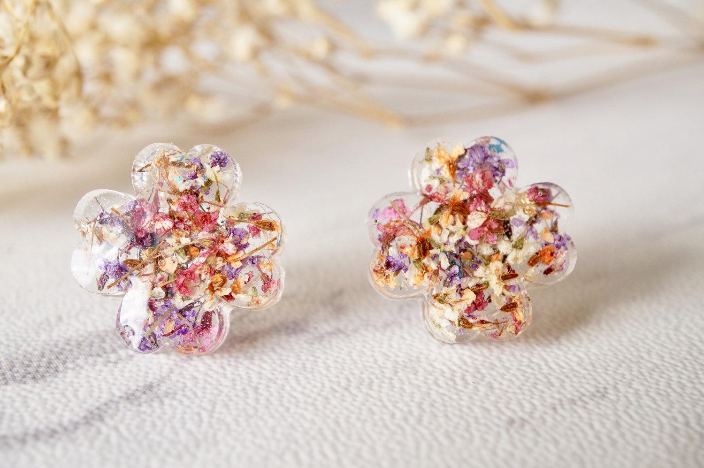 1f06aa8ee Real Dried Flowers and Resin Clover Stud Earrings in Pink Purple White  Orange