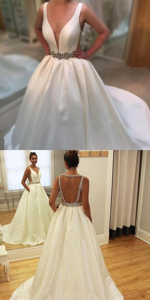 White Backless Bridal Dress Beaded Ball Gown Custom Made