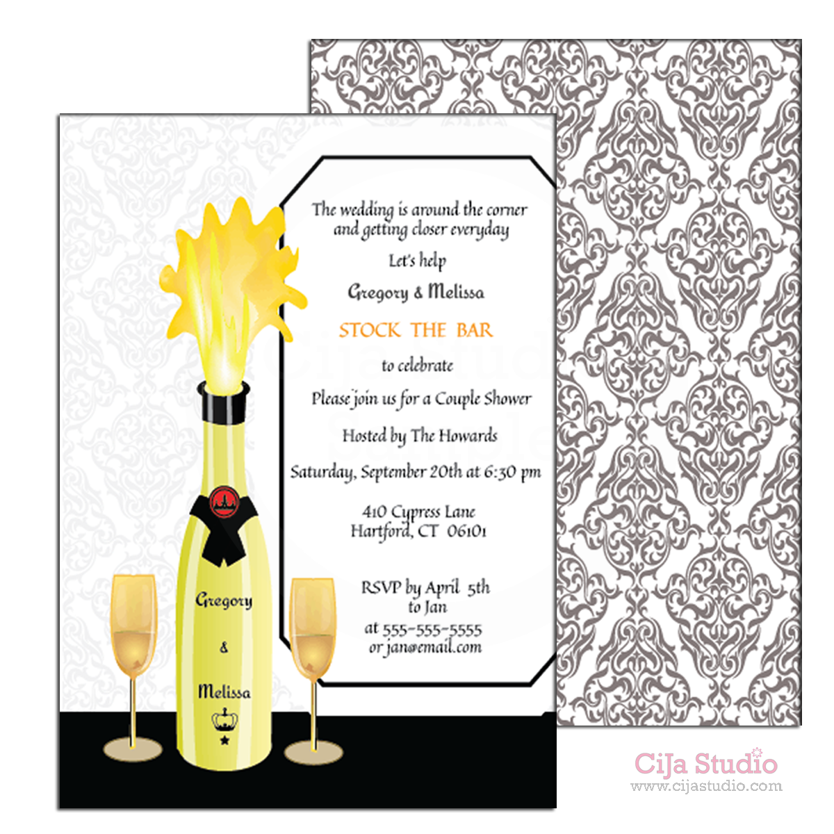 Stock the Bar- Bridal Shower - Couple Shower - Invitations Champagne ...