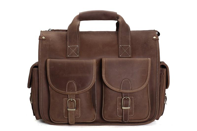 dda11a593a76f Handmade Vintage Leather Briefcase Messenger Bag  Men s Handbag 7106 ...