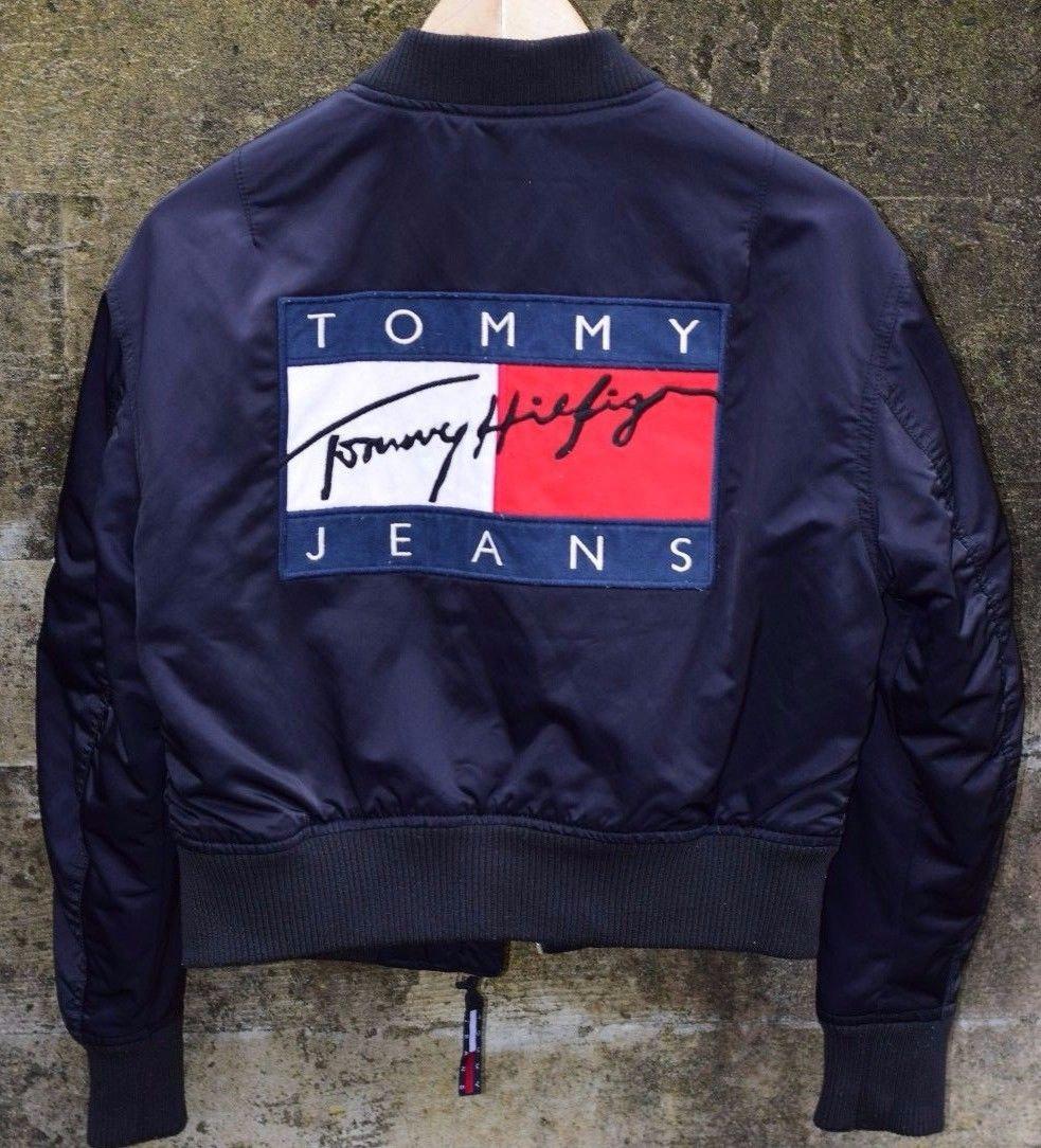 a3765fec4ca09e Tommy Hilfiger Bomber Jacket Vintage Big Logo Script 90s Womens ...