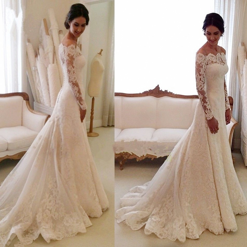 White Off-the-shoulder Lace Long Sleeve Bridal Gowns Cheap