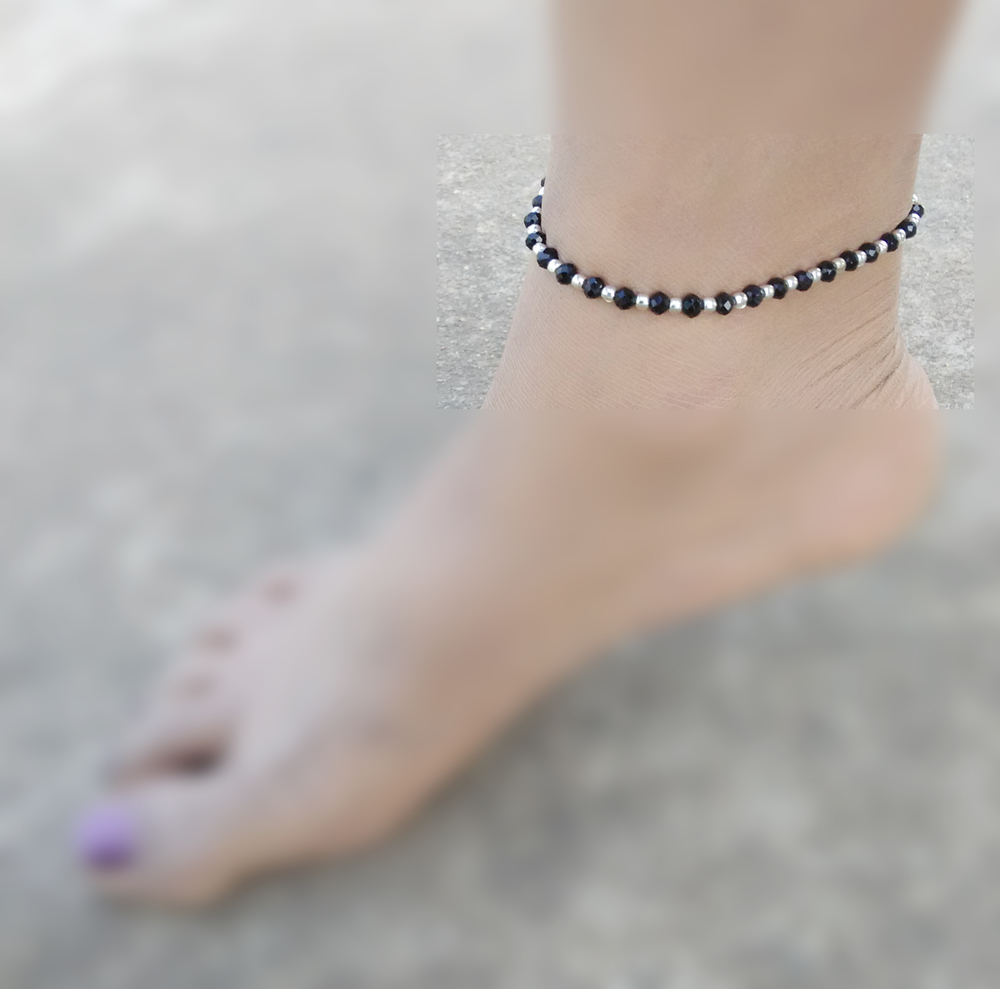 Bollywood boho Style Elegant Brass small Beaded anklet Black and Golden payal brass metal and glass crystal beads gift for her