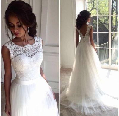 Round Neck Lace Illusion V Back Lace Up Long A Line Wedding Dresses Pd190047 From Focusdress