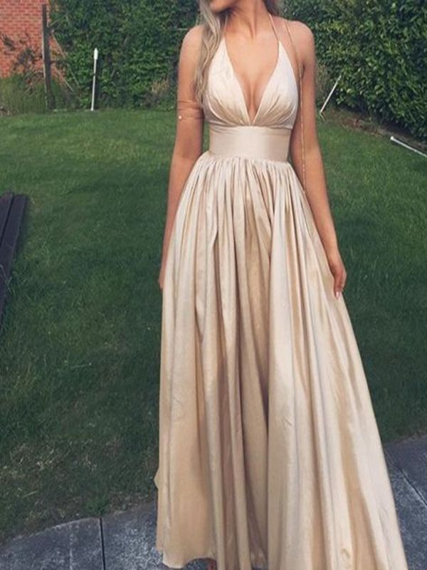 fb7d40192d99 Charming A-Line Halter Deep V-Neck Satin Long Prom Dress on Storenvy