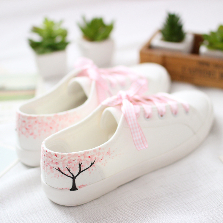 ada4751ef6d Brisk Hand-Draw Cherry Trees Flats Casual Lace-Up Shoes DC97 · The ...