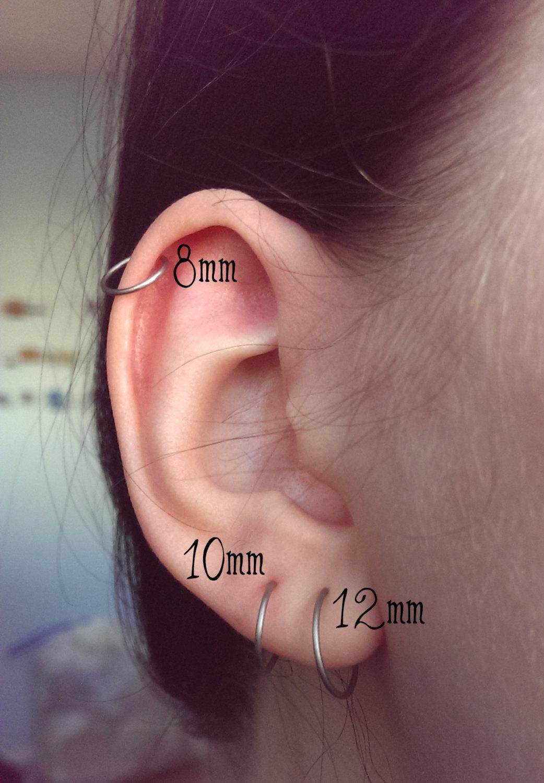 788380cff4993 Endless hoop earring | Titanium hoop earrings | Simple wire hoop earring |  Niobium hoop | Titanium hoop | cartilage hoop | 1/2 inch hoop from Indigo  ...