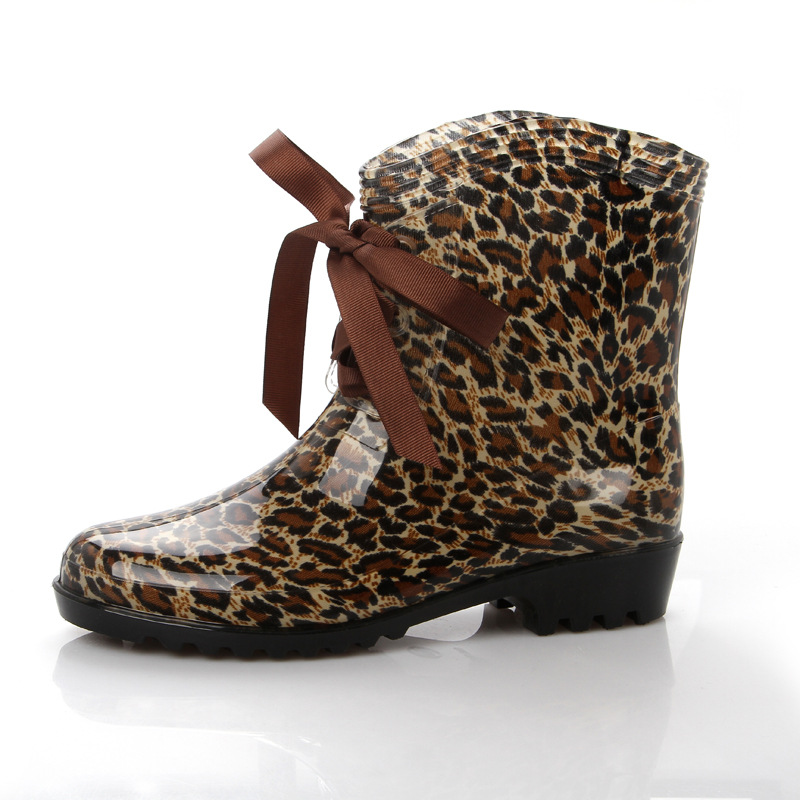 fe6f51907d06 Women Leopard Print Rain Boots Waterproof Rubber Martens Rain Boots Female  duck boots Wellies Shoes on Storenvy