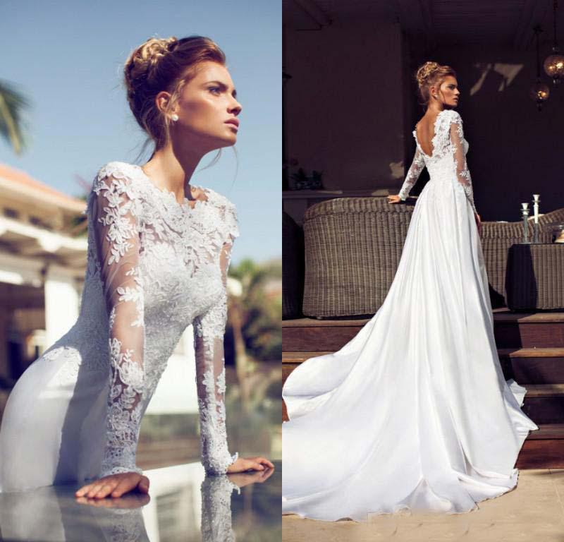 H262 Long Sleeve Lace Mermaid Wedding Dresses Open Back Vintage ...